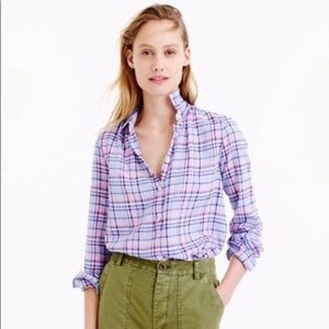 Jcrew Gathered Popover Shirt in Lilac Plaid